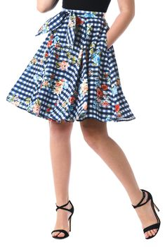 Bow tie check and floral print crepe skirt b1614aef5