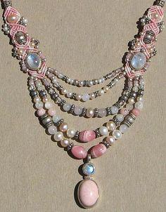 Pink Multi-strand Macrame Necklace