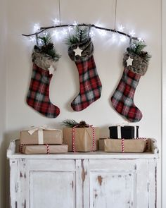 Don't have a mantel? A simple stick makes such a cute alternative to hang your stockings with ease!