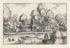 Claes Jansz. Visscher (II) | Figuren bij een vijver, Claes Jansz. Visscher (II), Meester van de Kleine Landschappen, Johannes of Lucas van Doetechum, 1620 | Bij een vijver, voor een groep met huizen, bevinden zich twee mensen en wat vee. In de vijver zwemmen eenden en vogels.