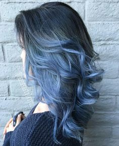Black to blue ombre hair, haur cilor, curly hair, hair style,.blue hair, black hair.