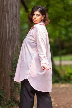 Camasa lunga roz din bumbac SNK PLUS 03 - AMA Fashion Bell Sleeves, Bell Sleeve Top, Tunic Tops, Plus Size, Women, Fashion, Moda, Women's, Fashion Styles
