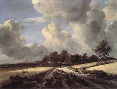 """""""Campos de trigo"""" (1662). JACOB VAN RUISDAEL (1628 - 1682). No cabe duda que fueron los pintores holandeses, quienes obsesionados por pintar fielmente todo lo que tenían ante sus ojos, han contribuido a """"enseñarnos a ver"""" lo que comunmente denominamos paisaje. Muchos de los que paseamos actualmente  por el campo deleitándonos con la contemplación, podemos deber ese deleite, sin saberlo, a los primeros paisajistas holandeses."""