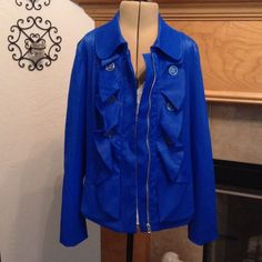 """FOR CYNTHIA-SIZE SMALL-LIKE NEW-BEAUTIFUL BEAUTIFUL BLUE JACKET WITH BEAUTIFUL DETAILS-SAY'S SMALL BUT IT FIT VERY WELL ON ME-I AM A MEDIUM /LARGE-I WILL LIST MEASUREMENTS-FROM ARMHOLE TO ARMHOLE IS ABOUT 17""""-LENGTH IS ABOUT 22""""-FABRIC IS ABOUT 67% COTTON-30% NYLON-3%SPANDEX-LINING IS 100% POLYESTER For Cynthia Jackets & Coats Blazers"""