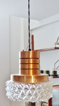 1970s copper and glass pendant lamp  www.archivefurniture.co.uk