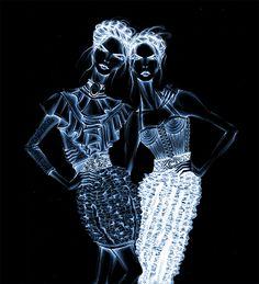 Balmain girls gif, by Lara Wolf #Balmain #illustration #gif #fashion #larawolf