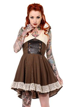 Robe marron à rayures noires haut blanc et dentelle blanche steampunk Banned > STEAMPUNK STORY - BANNED082
