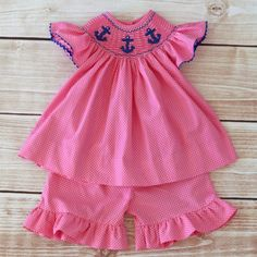 6/3/2013  Hot Pink and Navy Smocked Anchors Short Set