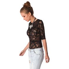 Black lace bodysuit with mesh insert – Fashion Gal Freedom