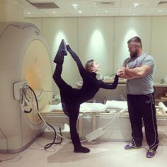 Ballet dancer Ambra Vallo and professional rugby player Dmitri Arhip (Ospreys) are MRI scanned ahead of 'Sports Anatomy: Live' at the Cheltenham Science Festival.  The event featured presenter and author Dr Alice Roberts, Swansea Uni biomechanics expert, Nick Owen, and consultant radiologist Iain Lyburn, each of whom used their specialist skills to compare athletes' physiology.