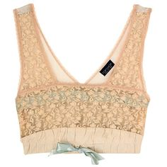 Topshop Lace and Ribbon Slot Crop Top, £28 | Look ❤ liked on Polyvore featuring tops, shirts, crop tops, lingerie, ribbon shirt, lacy top, beige top, topshop tops and beige crop top