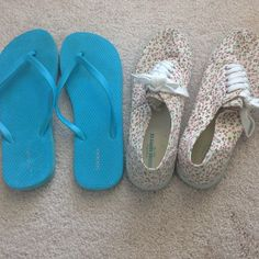 Shoe Bundle Mossimo Floral sneakers (beige with pink/green flowers) •• blue Old Navy flip flops •• both included! Mossimo Supply Co Shoes Flats & Loafers