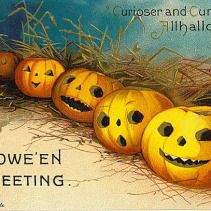 public domain vintage halloween postcard row of jack o lanterns
