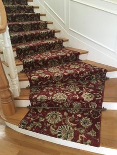 Nourison Kashan broadloom wall to wall carpet fabricated into a stair runner for a client in Laguna Beach, CA.