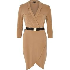 River Island Tan belted shirt dress ($76) ❤ liked on Polyvore featuring dresses, pink, 3/4 length sleeve dresses, belted dress, wrap shirt dress, beige shirt dress and t-shirt dresses