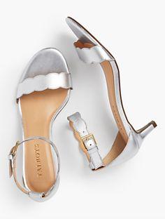 Pila Kitten-Heel Sandals - Metallic Nappa Leather   Talbots