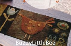 Quilt Pattern~Henny Penny~Primitive Style Table Runner~Uses Felted Wool