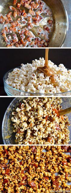 Homemade Caramel Popcorn with Bacon from @Kelly Senyei   Just a Taste