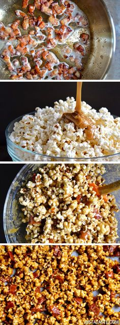 Homemade Caramel Popcorn with Bacon from @Kelly Senyei | Just a Taste