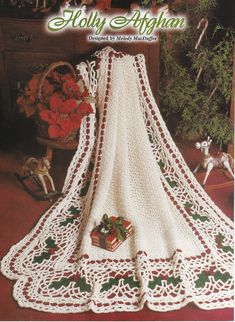 Crocheted PDF Pattern for Holly Leaf Afghan With FREE 2nd Afghan Pattern Included Instant Download Christmas Crochet Blanket, Christmas Afghan, Christmas Cushions, Christmas Crochet Patterns, Holiday Crochet, Crochet Home, Crochet Bedspread Pattern, Crochet Mandala Pattern, Doily Patterns