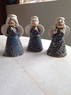 Set 3 choir angels in blue lace. Pottery by Karen Lucid