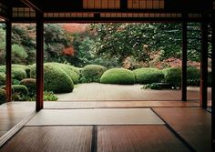 Japanese living room and garden