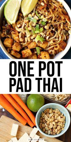 Delightful One Pot Pad Thai Noodles Recipe - April Golightly #vegan  #veganrecipes