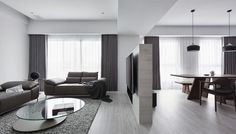The dream apartment of those who love black, whites and grays. #DreamHomes #BaronTips http://design-milk.com/l-residence-a-monochromatic-apartment-in-taichung/
