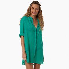 Vestido chemise pregas - verde