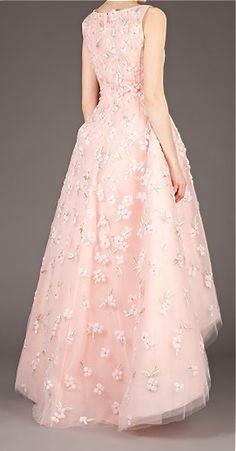 Oscar De La Renta floral embellished evening gown