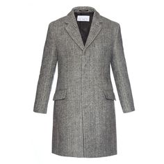 Raey Single-breasted salt and pepper chesterfield coat (30.150 RUB) ❤ liked on Polyvore featuring men's fashion, men's clothing, men's outerwear, men's coats, grey multi and mens single breasted pea coat