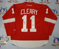 DANIEL CLEARY Detroit Red Wings SIGNED Reebok Premier Hockey Jersey . $350.55. This is an official licensed SIGNED Daniel Cleary Detroit Red Wings jersey. The jersey is brand new with all of the lettering and numbering professionally sewn on. The player has beautifully signed the number. To protect your investment, a Certificate Of Authenticity and tamper evident hologram from A.J. Sports World is included with your purchase.