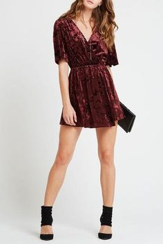 Stand out this party season in this crushed velvet dress's intoxicating wine hue and plunging neckline. Short sleeves, elasticized waist and a wrap front. Measures: long from shoulder to bottom hem. Valentines Day Dresses, Cocktail Outfit, Surplice Dress, Crushed Velvet, Special Occasion Dresses, Cute Dresses, Short Sleeve Dresses, Short Sleeves, Dress Outfits