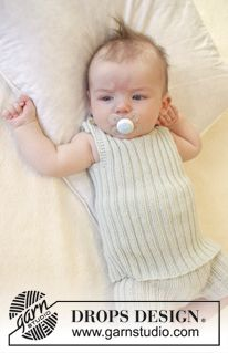 """Knitted DROPS singlet in rib in """"Baby Merino"""". Size premature-4 years. ~ DROPS Design"""