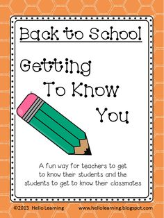 Getting to Know you- activities for the first couple weeks of school- students get to know their classmates, teacher gets to know the students, build community! $