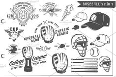 22 in 1 Set of Baseball by Hadanello88 on @creativemarket