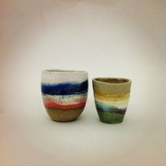 story in a cup. ceramic cups by Shino Takeda.