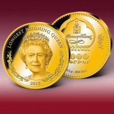 """Mimořádná emise z ryzího zlata """"Královna Alžběta II. – nejdéle vládnoucí panovnice"""" Queen Elizabeth Ii, Gold Coins, Solid Gold, Personalized Items, United Kingdom"""