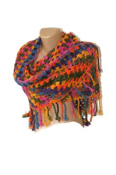 SALE Fashion crocheted multicolor shawlrainbowgift by seno on Etsy, $60.00
