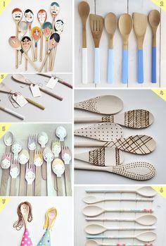 14 ideas para decorar cucharas de madera   Aubrey and Me
