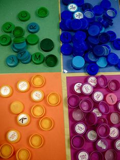 Bottle cap sorting...