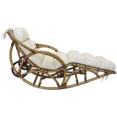 Vintage Rattan Chaise Lounge Rocking Chair, circa at Tropical Furniture, Bamboo Furniture, Cheap Furniture, Vintage Furniture, Luxury Furniture, Furniture Design, Armchair With Ottoman, Rattan Armchair, Folding Shower Chair