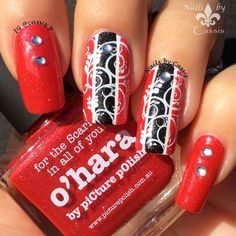 Nails by Cassis: Red x Black Stripe Mani #nails #nailart #nailstamping #picturepolish #bundlemonster