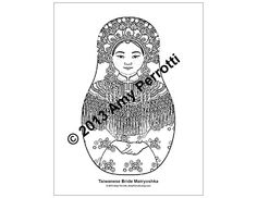 Taiwanese Bride Matryoshka Coloring sheet PDF by AmyPerrotti, $1.00