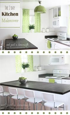 DIY kitchen makeover -painted countertops, new curtains and light fixtures make ALL the difference!
