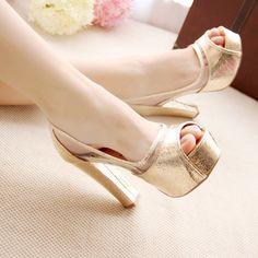 high - heeled shoes - http://zzkko.com/n58535-[Broken-code-D12-186-new-shoes,-fish-head-high-heeled-shoes-waterproof-thick-crust-golden-thick-heel-womens-singles-shoes $20.39