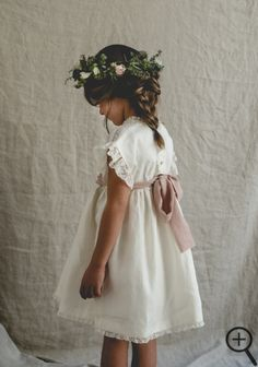 Two of the sweetest little flower girls I've ever seen. From their ivory silk dresses with dusty rose pink sashes to their gypsophila flower crowns and little ballet shoes. Such a timeless outfits and perfect for a garden Country Flower Girl Dr Flower Girl Dresses Country, Flower Girl Gown, Rustic Flower Girls, Dress With Bow, The Dress, Gowns For Girls, Girls Dresses, Angel Dress, Flower Girl Hairstyles