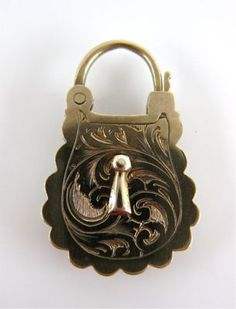 Unusual Antique Victorian Gold Mourning Hair Art Padlock Clasp