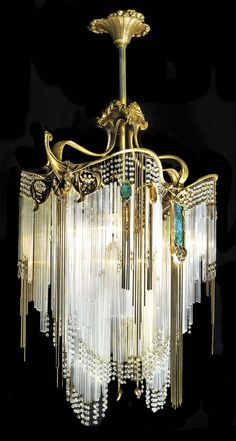 If my rings were a chandelier. Art Deco Hector Guimard chandelier May b Art Nouveau vs. see all the curves! Arte Art Deco, Moda Art Deco, Estilo Art Deco, Art Deco Chandelier, Art Deco Lighting, Chandelier Lighting, Antique Lighting, Unique Chandelier, Luxury Chandelier