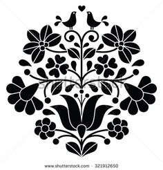 Kalocsai black embroidery - Hungarian floral folk pattern with birds by RedKoala #Hungary